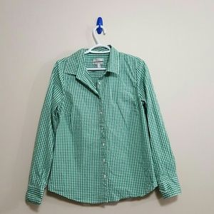 J-Crew M green checked stretch perfect blouse